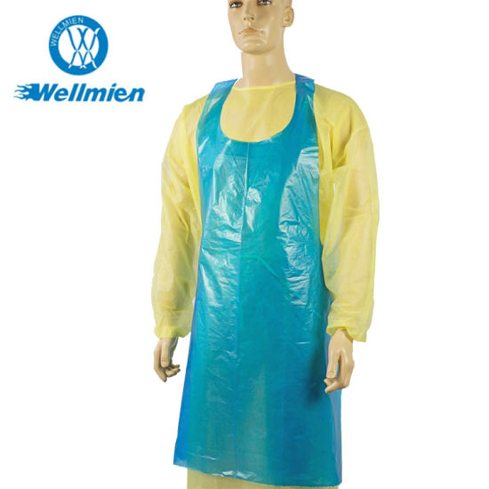 Disposable HDPE LDPE Hospital Medical Waterproof Apron Food Kitchen PE Apron