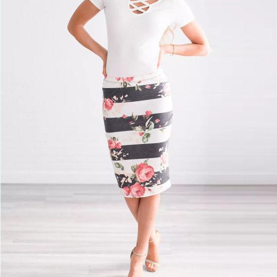 22fcb4f54613 China Custom Design Bodycon Pencil MIDI Contrast Stripe Floral Skirt ...