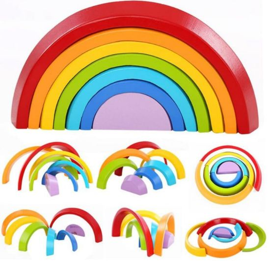 Wooden Rainbow Stacking Game Learning Toy Geometry Building Blocks Educational Toys for Kids Baby Toddlers