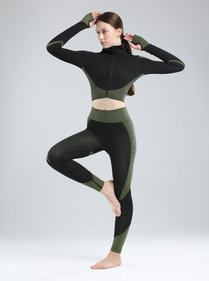 Fitness Suits Yoga Women Outfits Three-Piece Sets Long Sleeve Shirt+Sport Top Bras+Seamless Leggings Workout Running Clothing Gym Sports Wear