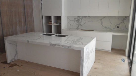 Artificial Staturior Marble Look Engineered White Quartz Stone Benchtop for Sale pictures & photos