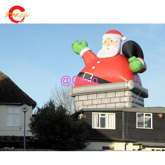 Factory Direct High Quality Custom Inflatable Decorative Santa Claus, 3m 10FT Chimney Santa Cluas Model