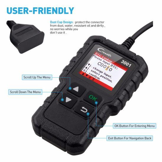 Launch X431 Creader 3001 Code Reader Obdii/Eobd Auto Diagnostic Tool Graph  Datastream DIY Scanner Cr3001 Creader V+ VI Kw590