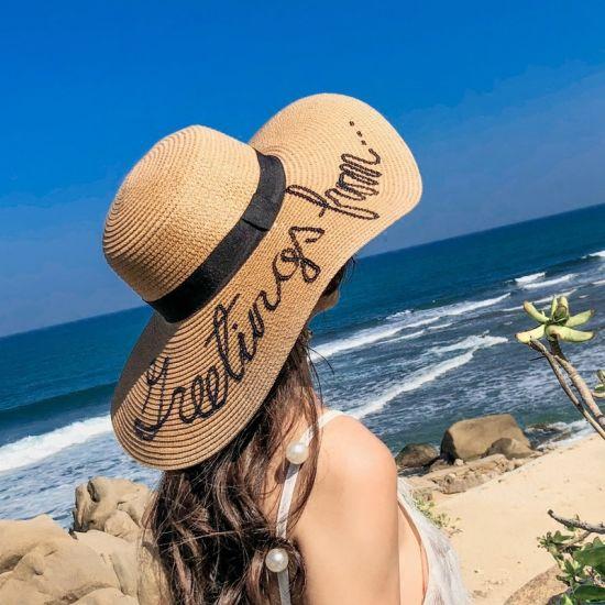 Wholesale Custom Fashion Summer Ladies Sun Beach Paper Mexico Wide Brim Straw Hat