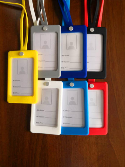 Color Business School ID Pass Card Rubber Silicone Card Holder with Clear Badge Window