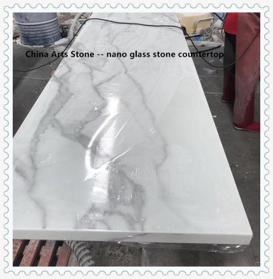 Artificial White Marble Granite Quartz Stone/ Jade Stone/ Nano Glass/ Crystallized Glass Countertop for Kitchen Countertop (no anti-dumping for USA market)