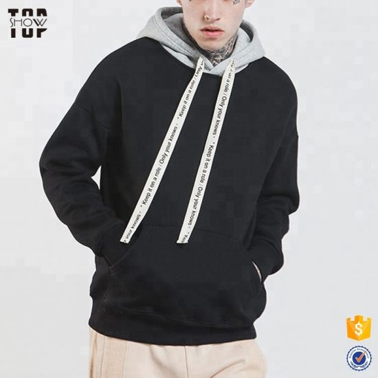 Mens Drop Shoulder Color Block Oversized Hoodie with Kangaroo Pocket pictures & photos