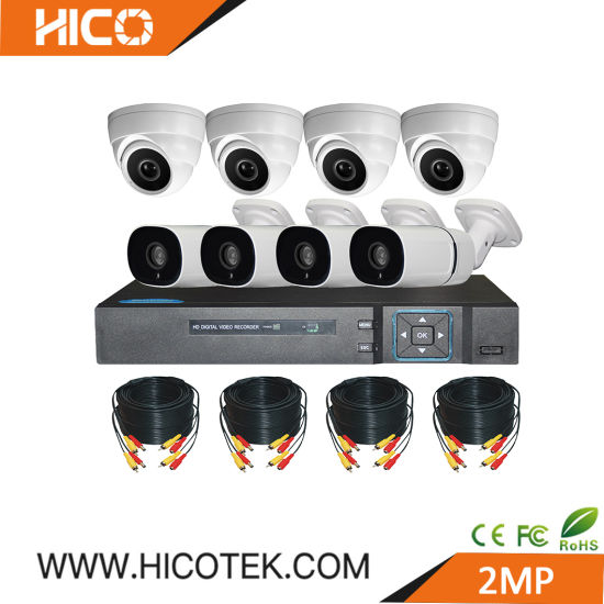 Hico H. 265 H. 264 Camera DVR 8CH 1080P IP67 Dome and Bullet Camera Security Night Vision CCTV Analog Wireless WiFi Kit