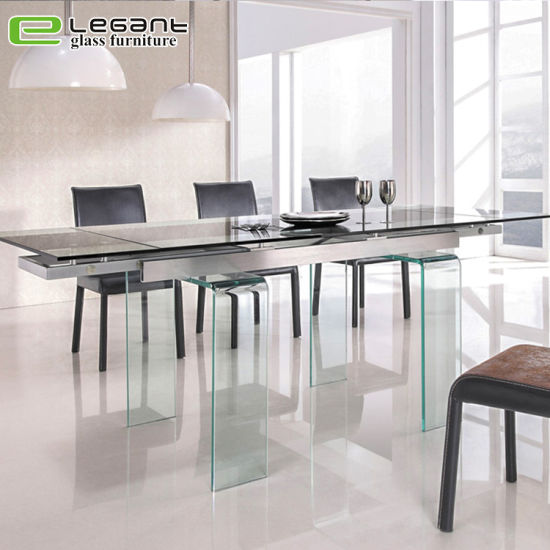 China Tempered Glass Top Rectangular Dining Table With Solid Wood China Dining Table Glass Dining Table