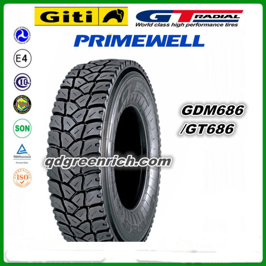 Giti / Gt Radial / Primewell Brand Truck Tire 315/80r22.5 315 80 22.5 315 / 80 R22.5 Gdm686 Gt686 Truck Tyres Made in Indonesia for Exceptional Traction