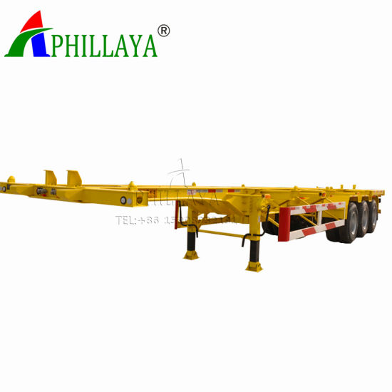 Phillaya 3 Axle Skeletal Container Semi Trailer (03) pictures & photos