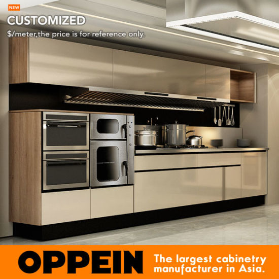 China Oppein Modern Colored High Quality Stainless Steel Kitchen Cabinet With Island Op17 St01 China Stainless Steel Kitchen Stainless Steel Cabinets
