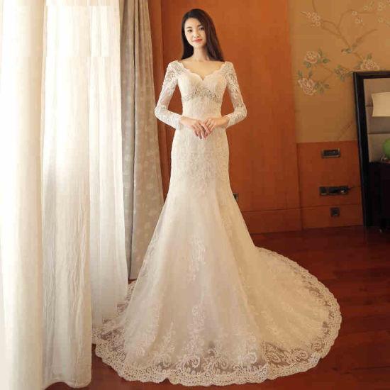 China Stunning Crystal Beaded Slim Lace Sleeves Trumpet Bridal ...