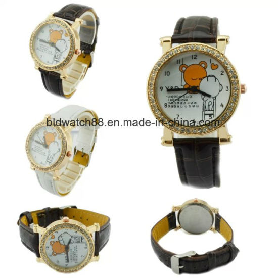 Promotional Small Wrist Gold Watch with Leather Band pictures & photos