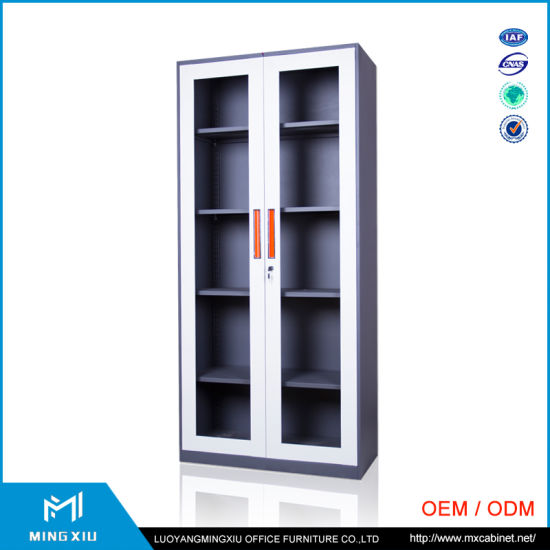 Luoyang Office Furniture Glass 2 Door Swing Metal Filing Cabinet / Utility Cabinet pictures & photos