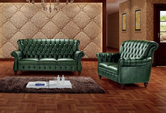 China Vintage High Back Green Leather Chesterfield Sofa Ms 11