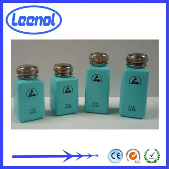 Static Dissipative Solvent Dispenser ESD Safe Blue Bottle with Anti-Splash Pump Average Surface resistivit