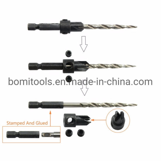 Customize Drilling Tool with 1/4 Hex Shank Tapered Wood Twist Drill Bit