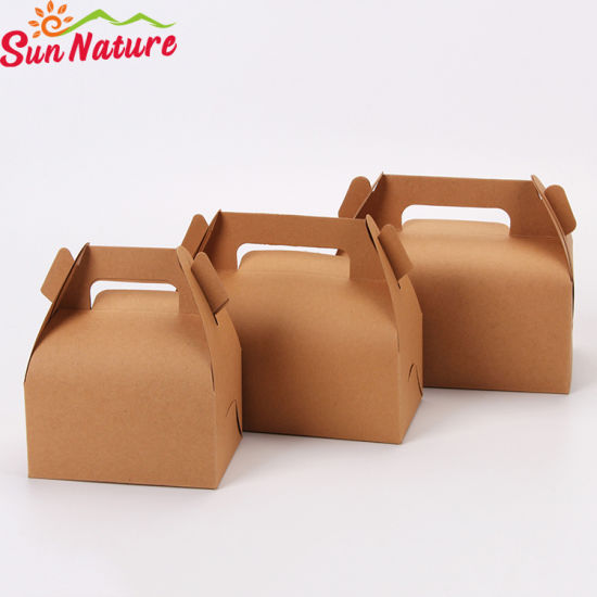 Sun Nature Wholesale Discount Christmas Kraft Cake Box with Handle pictures & photos