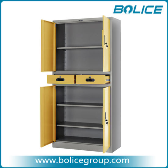 Multi-Tier Metal Swing Door Cupboard with Two Drawers pictures & photos