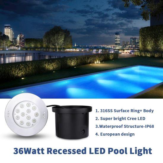 High Power 36watt Recessed LED Swimming Pool Underwater Lights