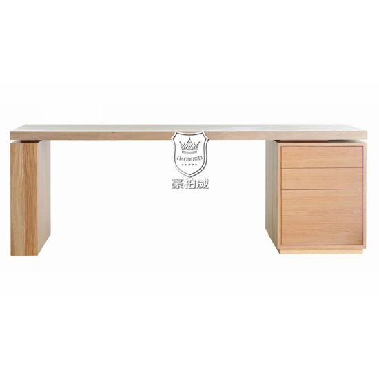 White Oak Floating Desktop 3 Drawers Writing Desk Designs pictures & photos