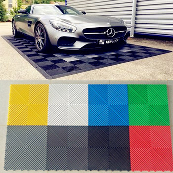 Cheap Plastic Outdoor Non-Slip Interlocking Free Flow Garage Floor Tiles 400*400*18