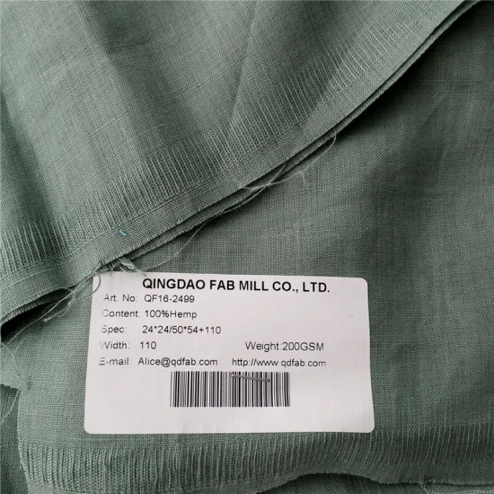 200GSM Eco-Friendly Pure Hemp Fabric (QF16-2499) pictures & photos