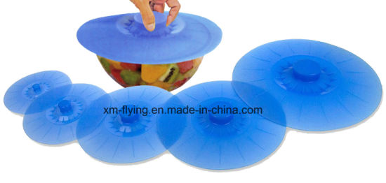 Reusable Microwave Safe Set of 5 Sizes Airtight Silicone Suction Lids, Silicone Kitchenware