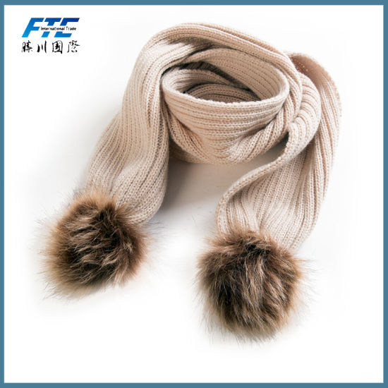 New Double Ball Scarf Winter Neck Warm Scarves Knitted Scarf