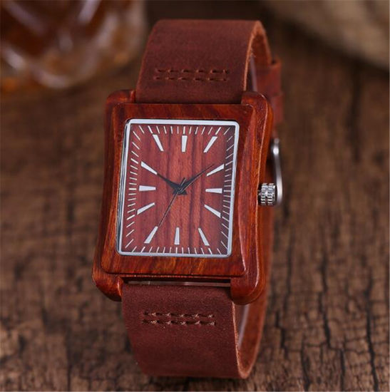 067c71c46 Vintage Nature Wood Wristwatch Genuine Leather Band Strap Watch Bamboo Novel  Rhombus Carving Bohemia Style Fashion