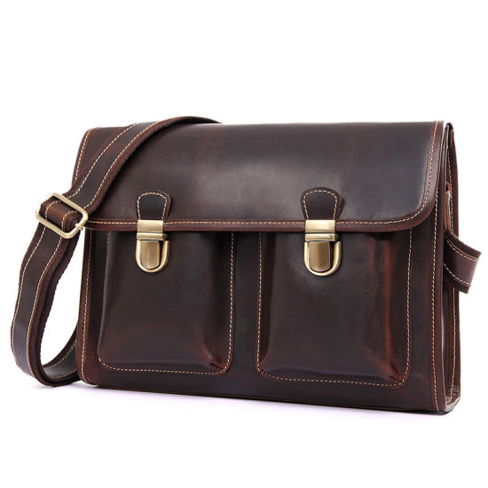 Hot Selling Low Price Dark Brown Cow Leather School Bag Leather Messenger pictures & photos