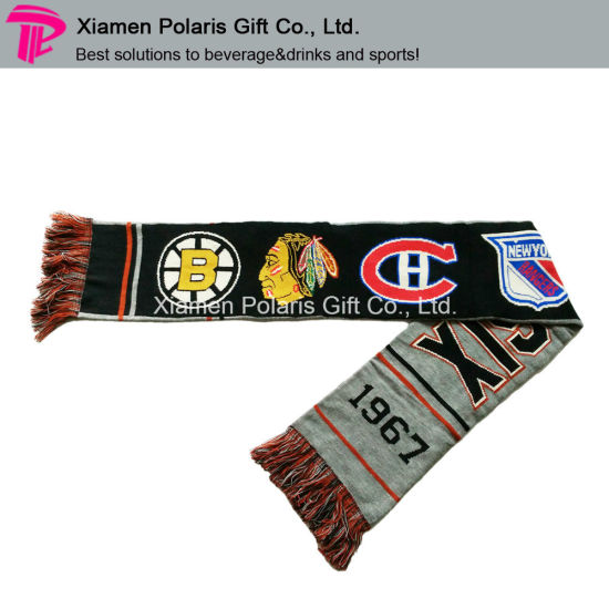 Promotion Spandex Sports Knitted Scarf Fan Muffler with Jacquard Logo pictures & photos