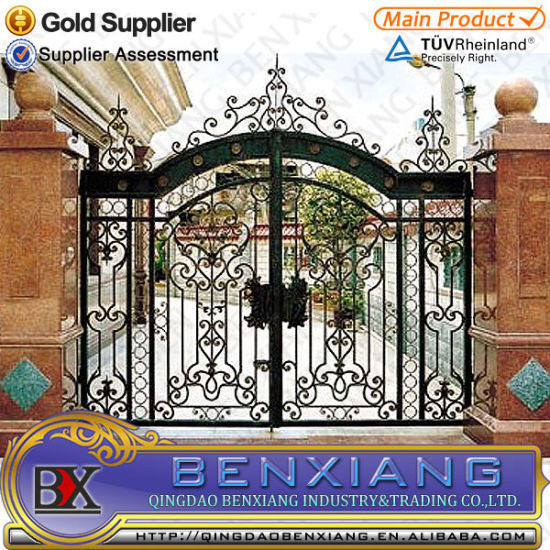 China Wrought Iron Main Entrance Security Front Doors Grill Design