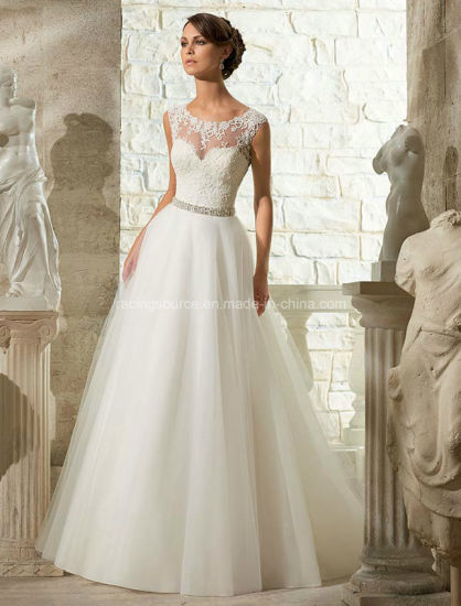 Empire Cap Sleeve Bridal Gown Embroidary Wedding Dress pictures & photos