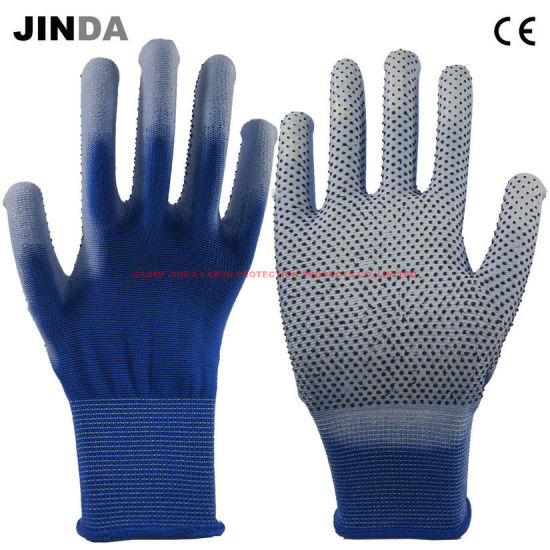Polyester Shell White PU DOT Coated Electronic Work Gloves