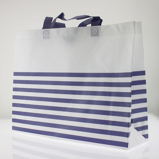 Customized Horizontal Stripes White Non Woven Shopping Bags pictures    photos 19e44bbc1716a