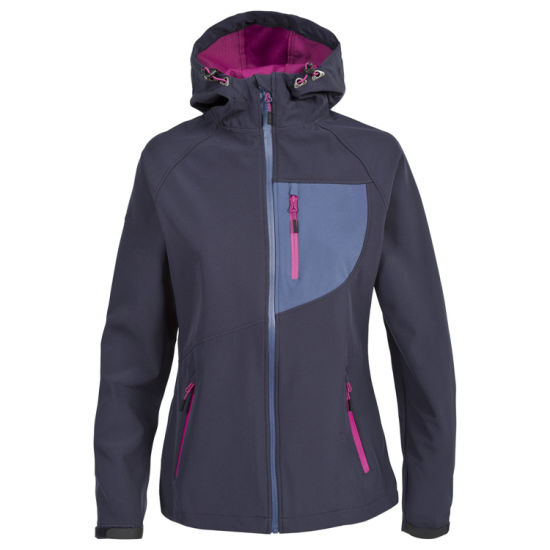 Women Breathable Windproof and Water Resistant Softshell Jacket