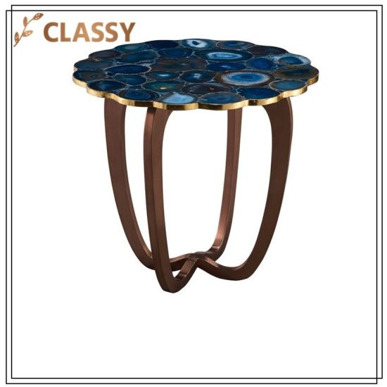 Royalblue Agate Top Golden Stainless Steel Base Coffee Table
