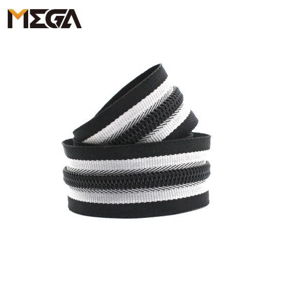 Custom Zipper Black and White Striped Ribbon Nylon Zipper