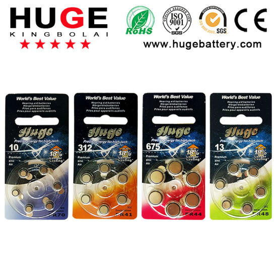 6PCS/Blister Hearing Aid Battery Button Cell (A10/A13/A312/A675)
