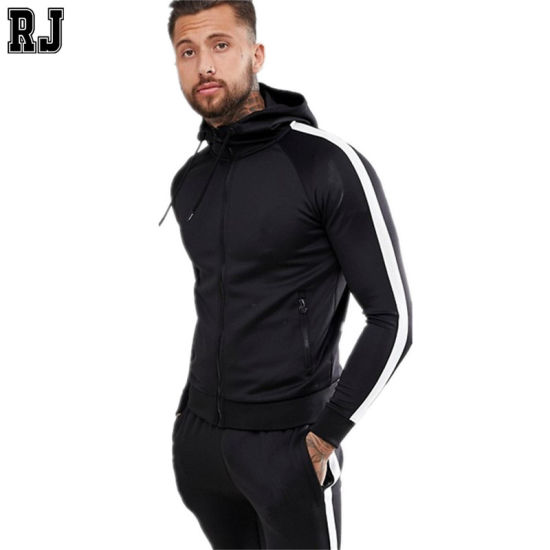 Design Your Own Tracksuit 2020 Custom Clothing Two Piece Sets Mens Fitted Black Slim Fit Tracksuit with Side White Stripe