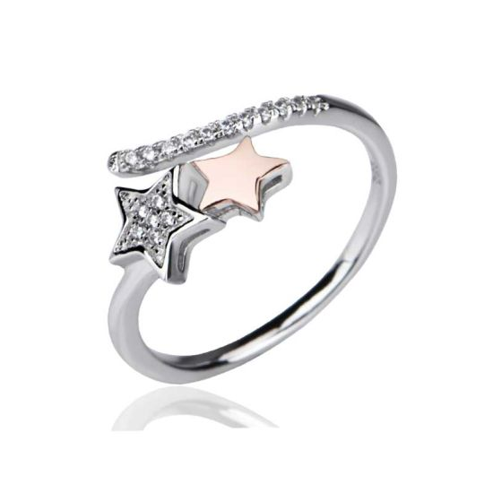 Silver Jewelry Rose Gold Plated Star Adjustable Ring as Gift for Women