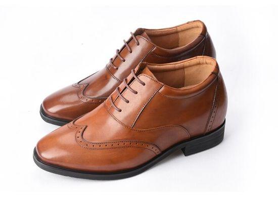 Leather Brogue Hidden High Heel Shoes For Men Elevator