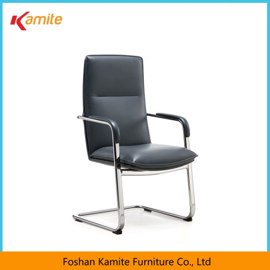 Luxury Italian Leather Metal Base Visitor Office Chair