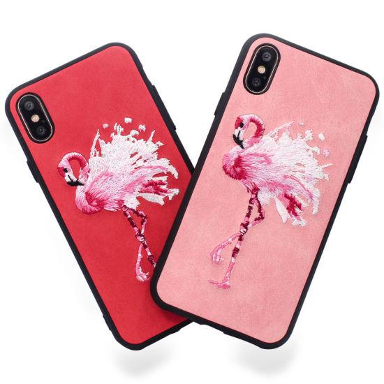 Cute Flamingo Birds Animal Cartoon Embroidery Phone Case for iPhone X