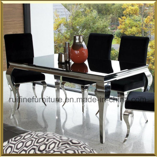 Modern French Dining Furniture Set / Stainless Steel Chrome Grey Black  Louis Chairs Dining Table Set