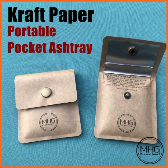 Kraft Paper Portable Pocket Ashtray for Cigarette Butt and Ash