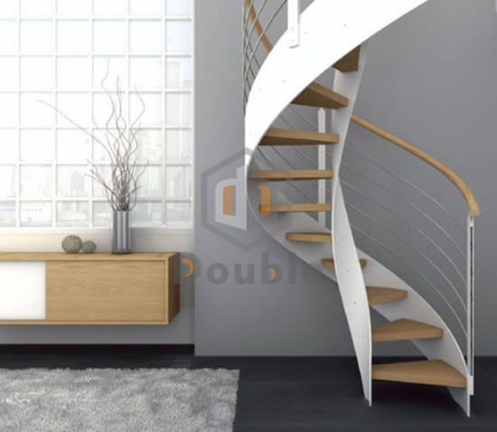 White Stairs Steel Structure Wood Tread Spiral Staircase With Railing
