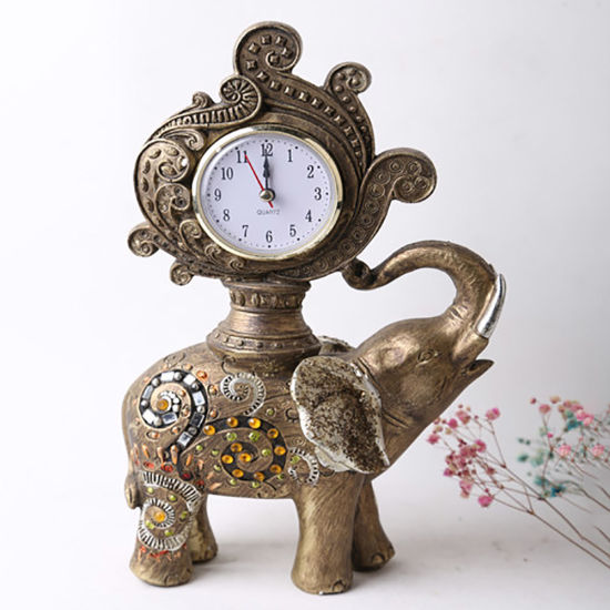 Wholesale Tabletop Elephant Clock Resin Statue Decoration Home Decoration